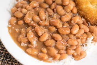 Pinto beans with rice and cornbread